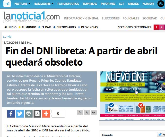 Fin del DNI libreta A partir de abril quedará obsoleto - LaNoticia1.com