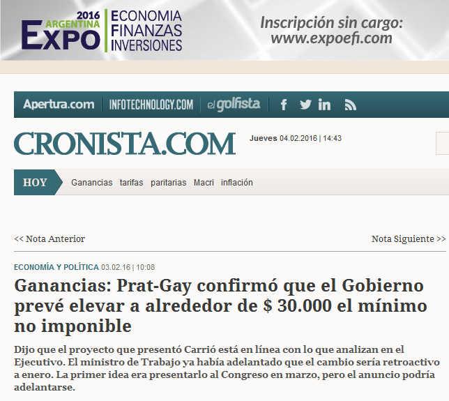 Ganancias Prat-Gay confirmó que el Gobierno prevé elevar a alrededor de $ 30.000 el mínimo no imponible - Cronista Comercial
