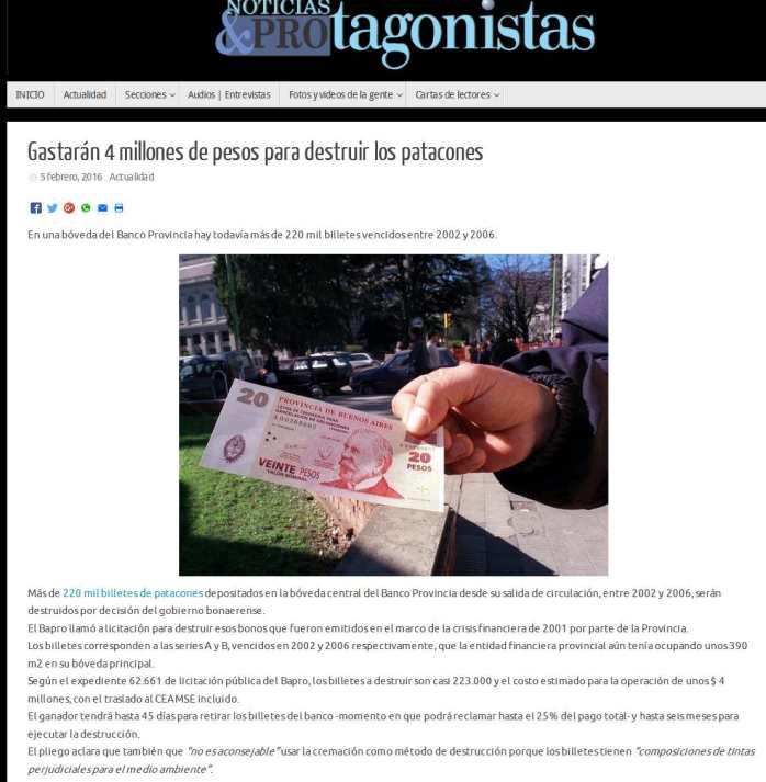 Gastarán 4 millones de pesos para destruir los patacones – Noticias y Protagonistas