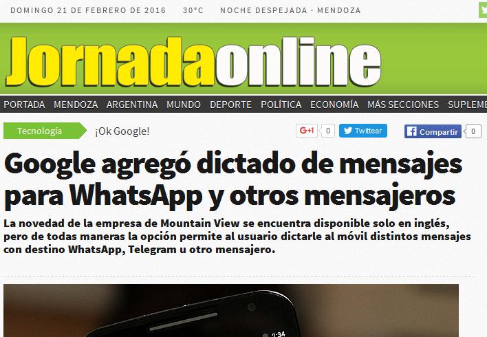 Google agregó dictado de mensajes para WhatsApp y otros mensajeros - Diario Jornada