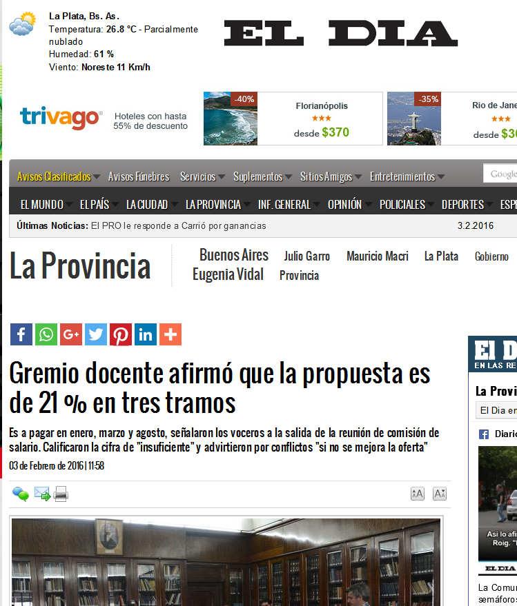 Gremio docente afirmó que la propuesta es de 21 % en tres tramos La Provincia.jpg