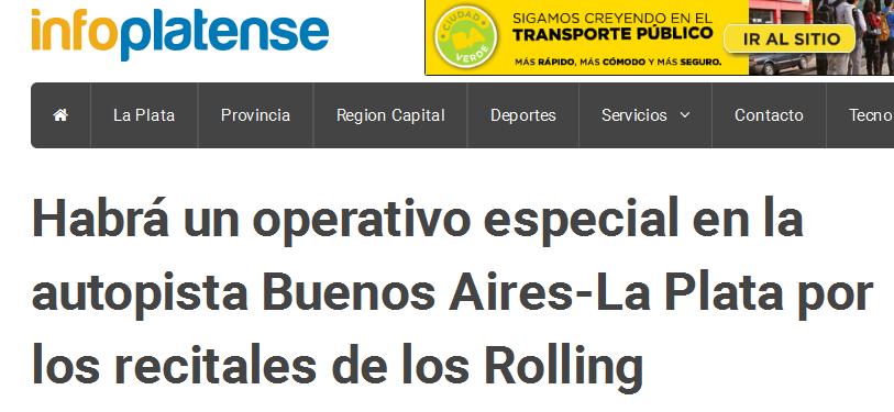 Habrá un operativo especial en la autopista Buenos Aires-La Plata por los recitales de los Rolling - Info Platense