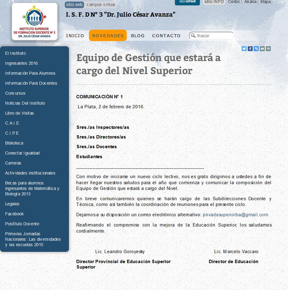 I. S. F. D N° 3 'Dr. Julio César Avanza'