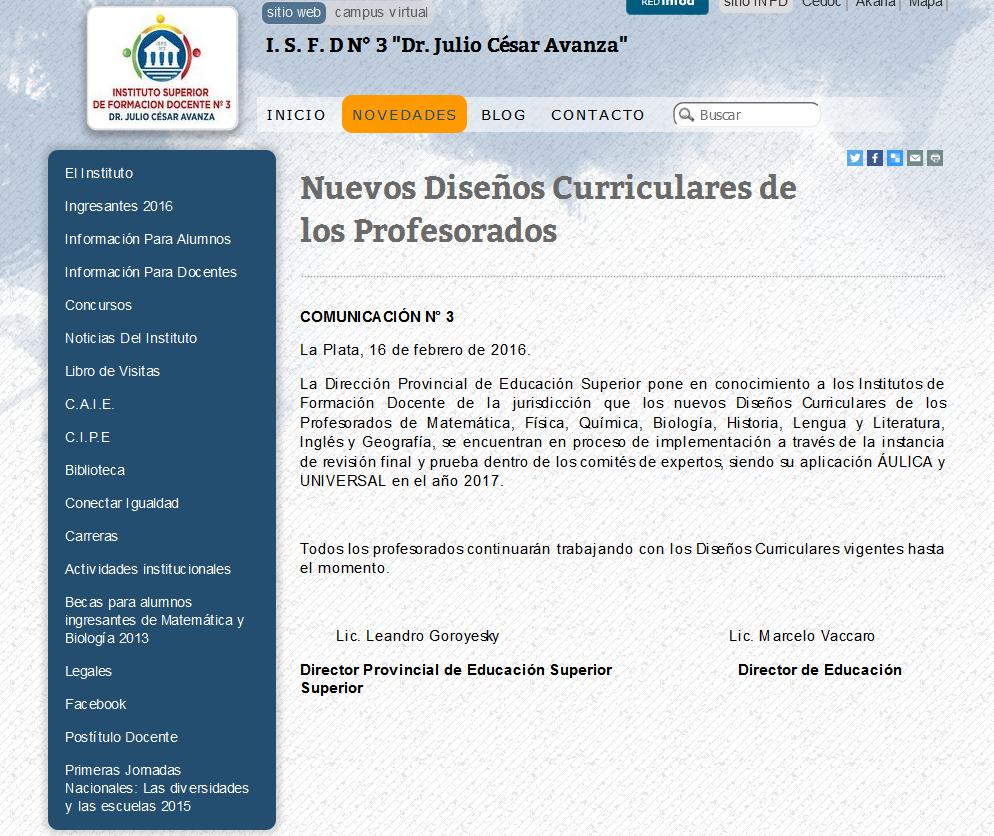 I. S. F. D N° 3 'Dr. Julio César Avanza'(1)