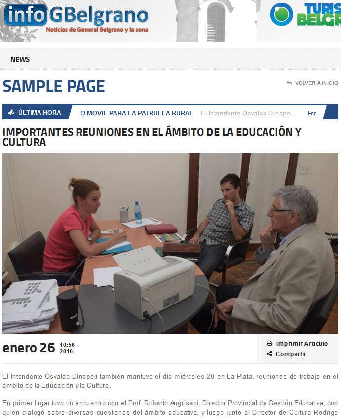IMPORTANTES REUNIONES EN EL ÁMBITO DE LA EDUCACIÓN Y CULTURA - Infogbelgrano