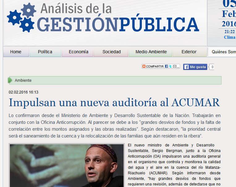 Impulsan una nueva auditoría al ACUMAR - AGP