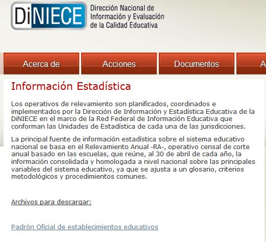 Información Estadística - Dirección Nacional de Información y Evaluación de la Calidad Educativa