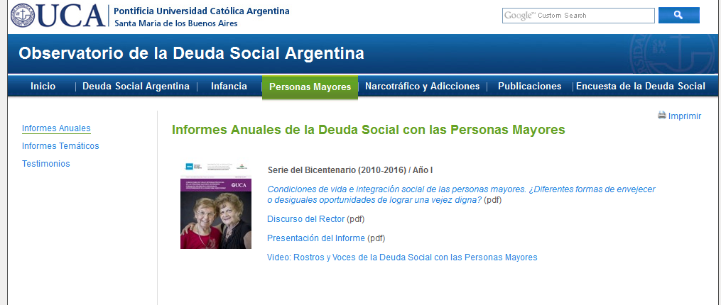 Informes Anuales de la Deuda Social con las Personas Mayores - Observatorio de la Deuda Social Argentina - UCA Pontificia Universidad Católica Argentina