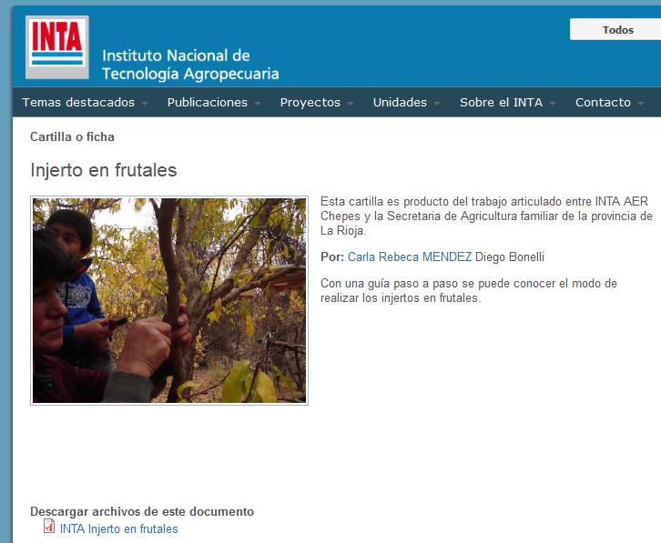 Injerto en frutales - INTA Instituto Nacional de Tecnología Agropecuaria