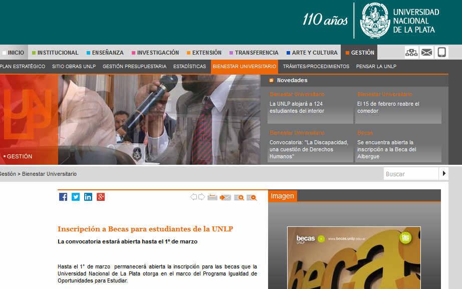 Inscripción a Becas para estudiantes de la UNLP - Universidad Nacional de La Plata (UNLP)
