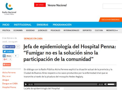 """Jefa de epidemiología del Hospital Penna """"Fumigar no es la solución sino la participación de la comunidad"""" - Radio Nacional Argentina. La Radio Pública."""