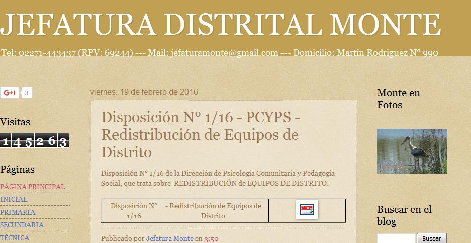 JEFATURA DISTRITAL MONTE Disposición N° 1-16 - PCYPS - Redistribución de Equipos de Distrito