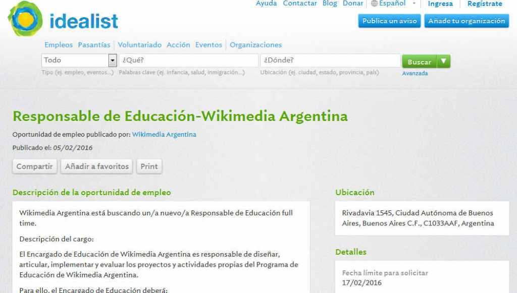 Job (Ciudad Autónoma de Buenos Aires) Responsable de Educación-Wikimedia - idealistas.org