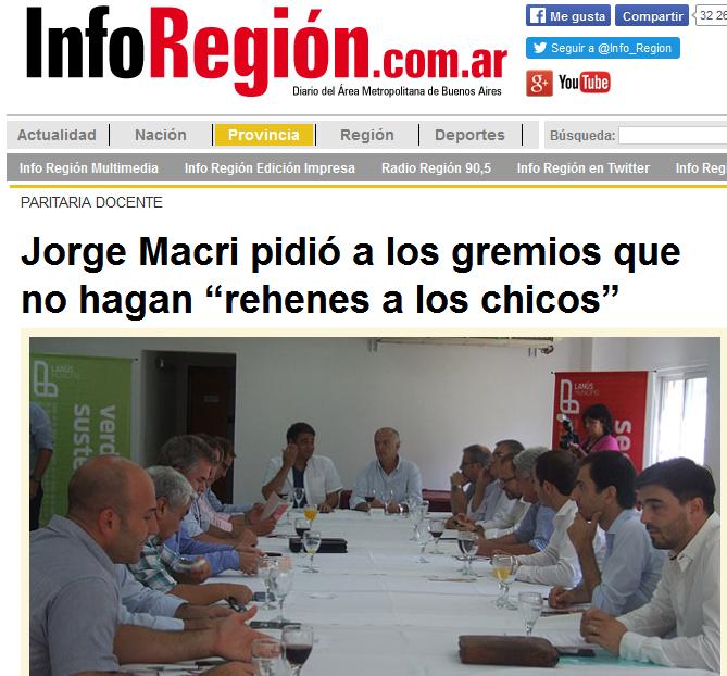 """Jorge Macri pidió a los gremios que no hagan """"rehenes a los chicos"""" - inforegion.com.ar"""
