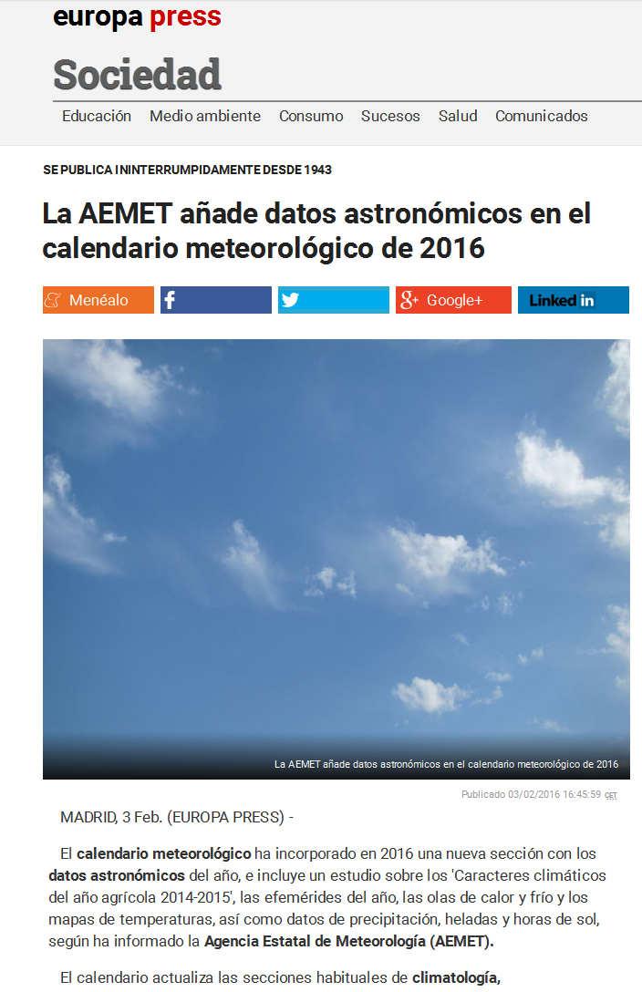 La AEMET añade datos astronómicos en el calendario meteorológico de 2016