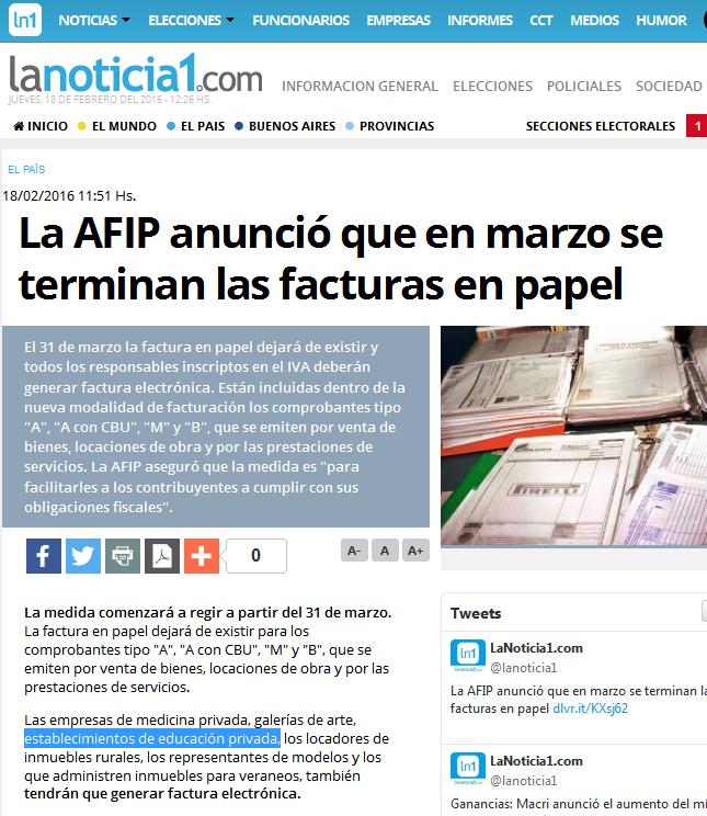 La AFIP anunció que en marzo se terminan las facturas en papel - LaNoticia1.com(1)