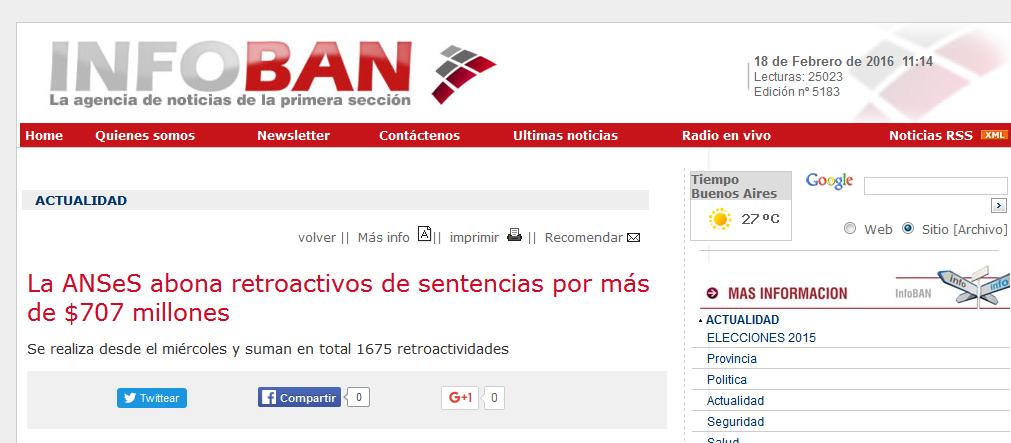 La ANSeS abona retroactivos de sentencias por más de $707 millones - Agencia de Noticias InfoBAN