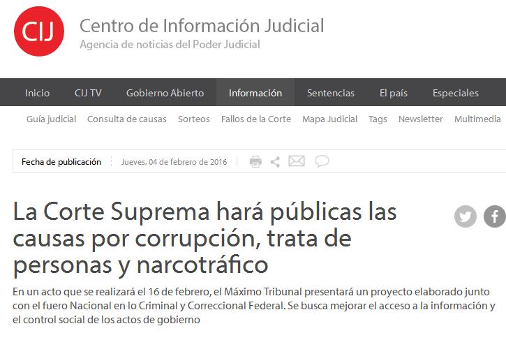 La Corte Suprema hará públicas las causas por corrupción, trata de personas y narcotráfico