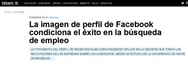 La imagen de perfil de Facebook condiciona el éxito en la búsqueda de empleo - Télam - Agencia Nacional de Noticias