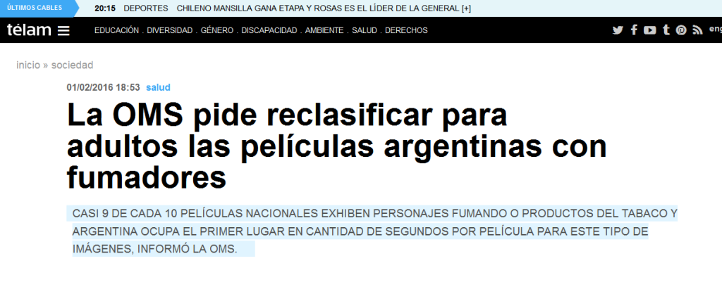 La OMS pide reclasificar para adultos las películas argentinas con fumadores - Télam - Agencia Nacional de Noticias