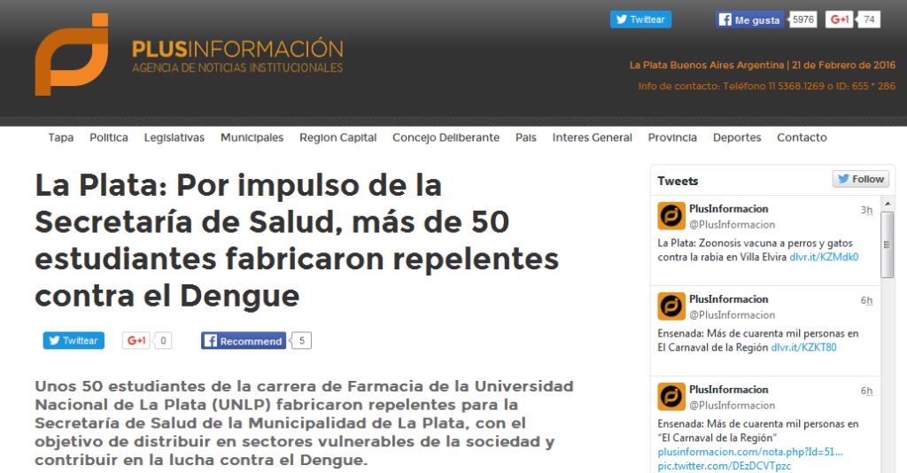 La Plata Por impulso de la Secretaría de Salud, más de 50 estudiantes fabricaron repelentes contra el Dengue