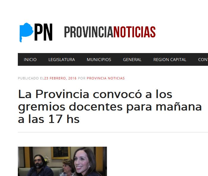 La Provincia convocó a los gremios docentes para mañana a las 17 hs - Provincia Noticias