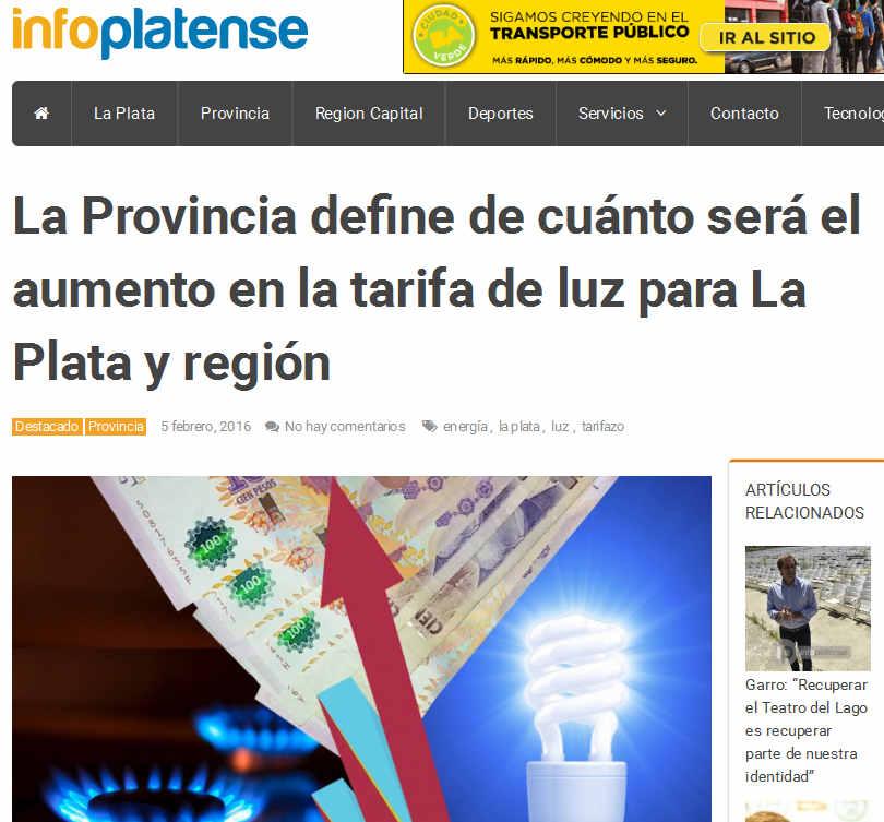 La Provincia define de cuánto será el aumento en la tarifa de luz para La Plata y región - Info Platense