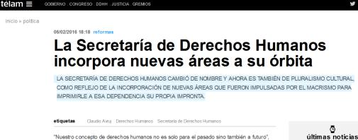 La Secretaría de Derechos Humanos incorpora nuevas áreas a su órbita - Télam - Agencia Nacional de Noticias