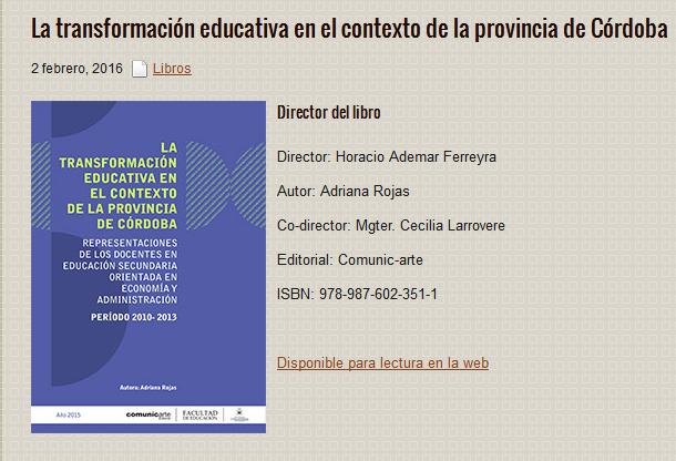 La transformación educativa en el contexto de la provincia de Córdoba