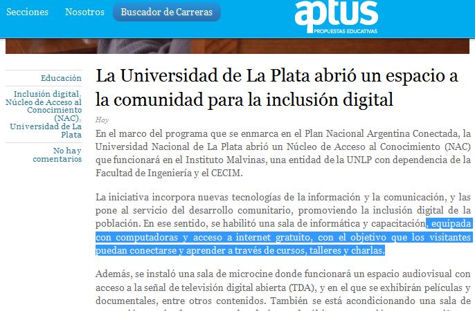 La Universidad de La Plata abrió un espacio a la comunidad para la inclusión digital