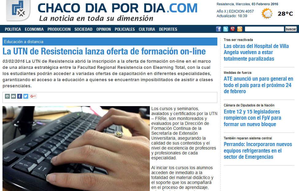 La UTN de Resistencia lanza oferta de formación on-line - Aula y Saber - Chaco dia por dia