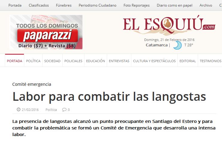 Labor para combatir las langostas - El Esquiu - Diario de Catamarca - Argentina