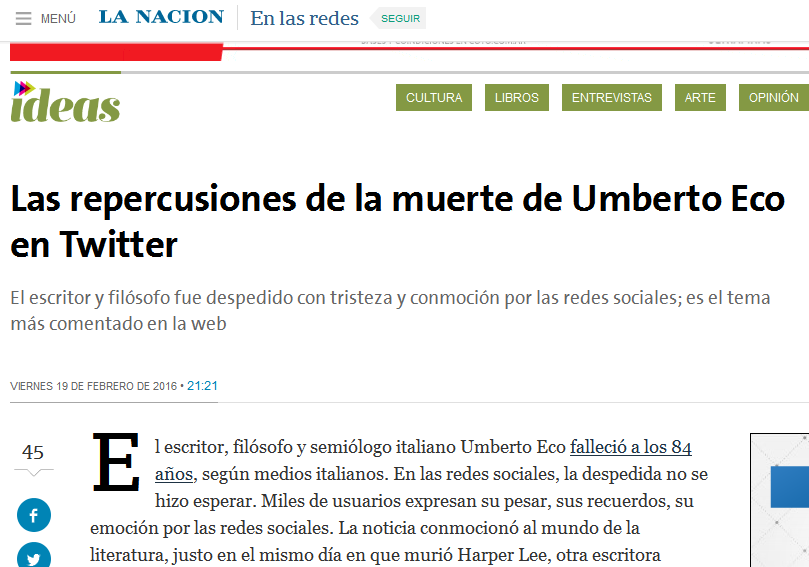 Las repercusiones de la muerte de Umberto Eco en Twitter - 19.02.2016 - LA NACION