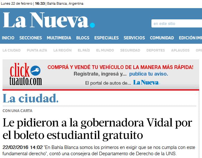 Le pidieron a la gobernadora Vidal por el boleto estudiantil gratuito