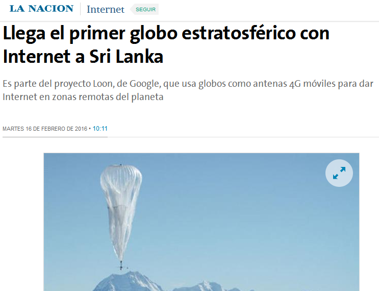 Llega el primer globo estratosférico con Internet a Sri Lanka - 16.02.2016 - LA NACION