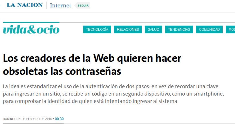 Los creadores de la Web quieren hacer obsoletas las contraseñas - 21.02.2016 - LA NACION