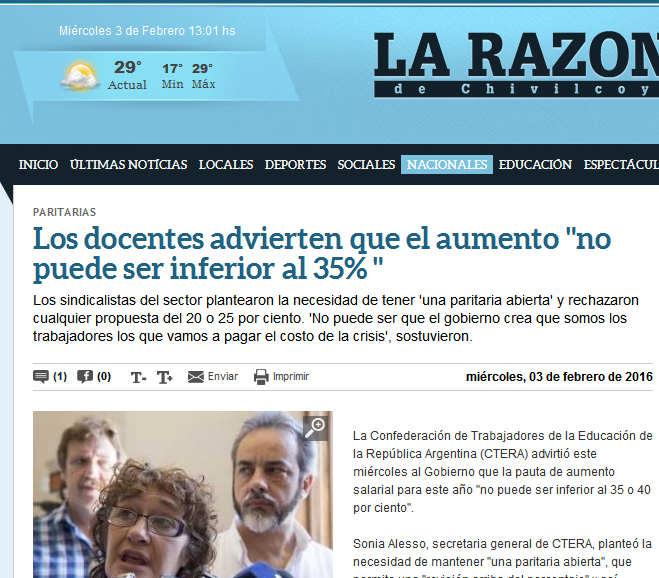 Los docentes advierten que el aumento 'no puede ser inferior al 35% ' - La Razon de Chivilcoy