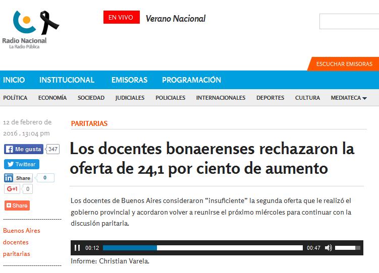 Los docentes bonaerenses rechazaron la oferta de 24,1 por ciento de aumento - Radio Nacional Argentina. La Radio Pública.