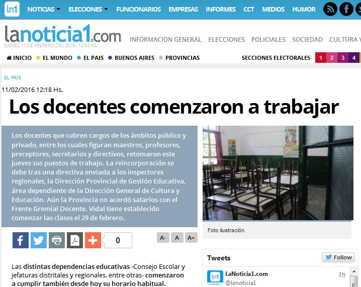 Los docentes comenzaron a trabajar - LaNoticia1.com