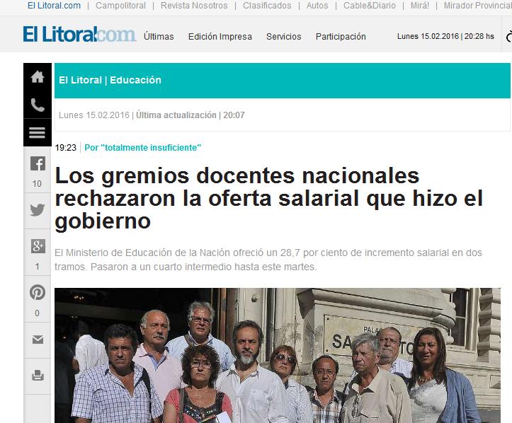 Los gremios docentes nacionales rechazaron la oferta salarial que hizo el gobierno Diario El Litoral - Santa Fe - Argentina