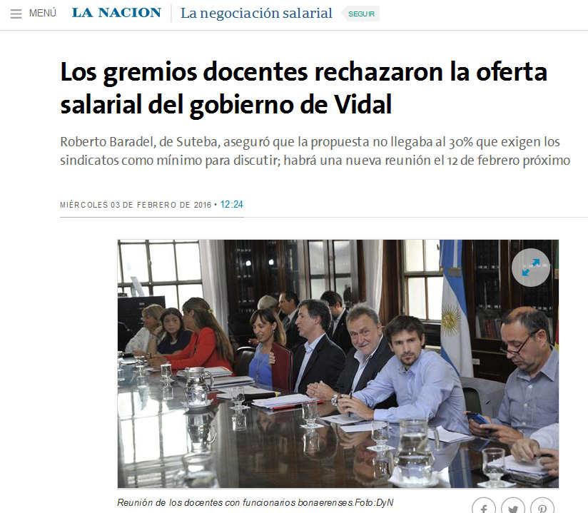Los gremios docentes rechazaron la oferta salarial del gobierno de Vidal - 03.02.2016 - LA NACION
