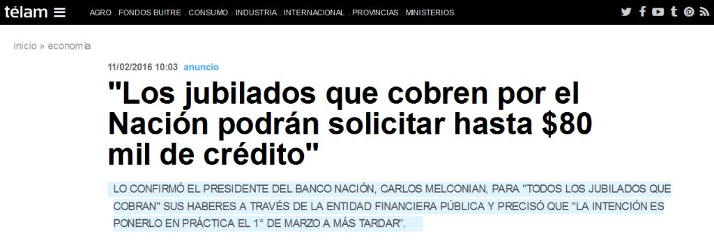 'Los jubilados que cobren por el Nación podrán solicitar hasta $80 mil de crédito' - Télam - Agencia Nacional de Noticias