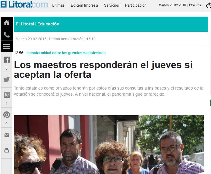 Los maestros responderán el jueves si aceptan la oferta Diario El Litoral - Santa Fe - Argentina