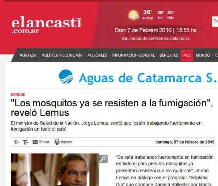'Los mosquitos ya se resisten a la fumigación', reveló Lemus - El Ancasti de Catamarca