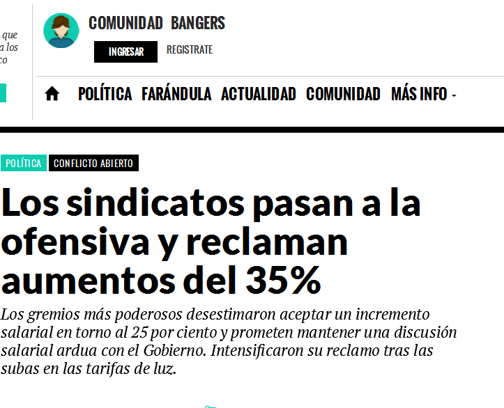 Los sindicatos pasan a la ofensiva y reclaman aumentos del 35% - Big Bang! News - Noticia de Política