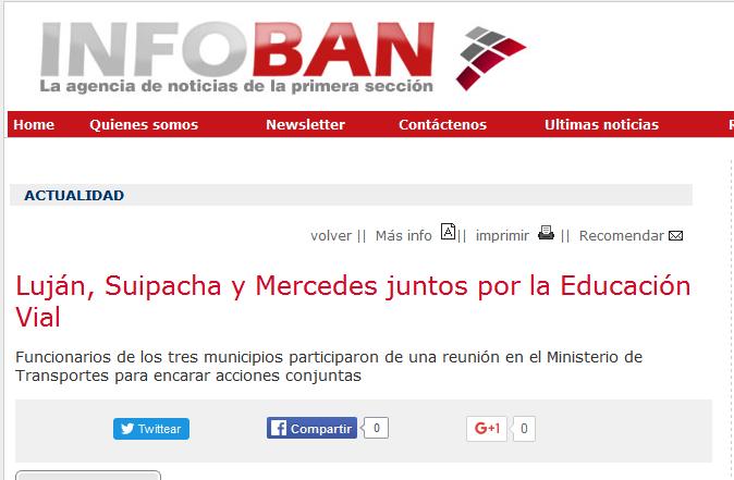 Luján, Suipacha y Mercedes juntos por la Educación Vial - Agencia de Noticias InfoBAN