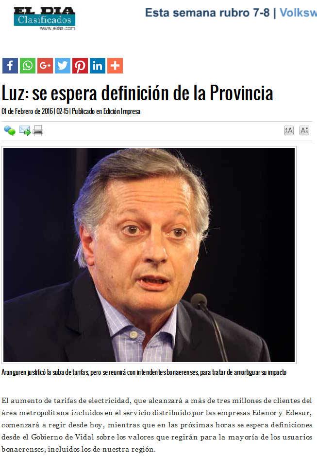 Luz se espera definición de la Provincia - Diario El Día