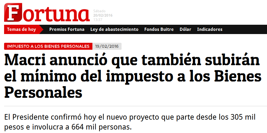 Macri anunció que también subirán el mínimo del impuesto a los Bienes Personales - FORTUNA WEB