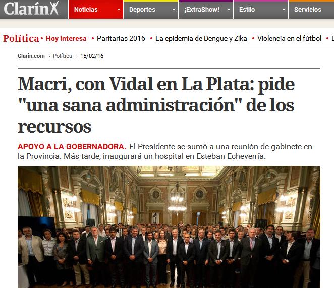 Macri, con Vidal en La Plata pide 'una sana administración' de los recursos
