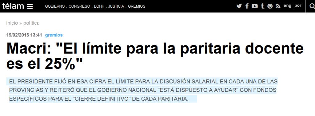 Macri 'El límite para la paritaria docente es el 25%' - Télam - Agencia Nacional de Noticias
